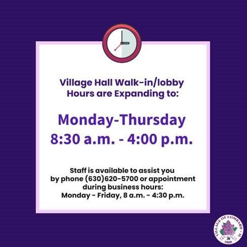 village hall walk in hours