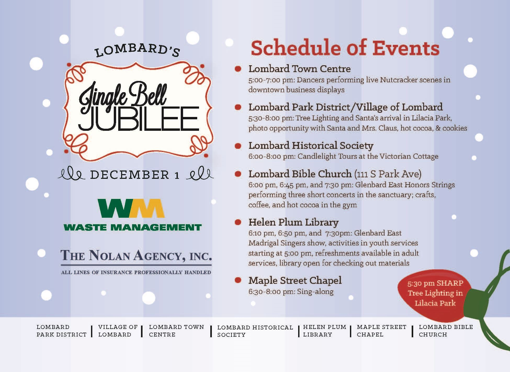 JingleBell Jubilee Schedule of Events