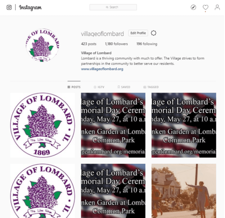 Lombard's Instagram Account at Village of Lombard (PNG)