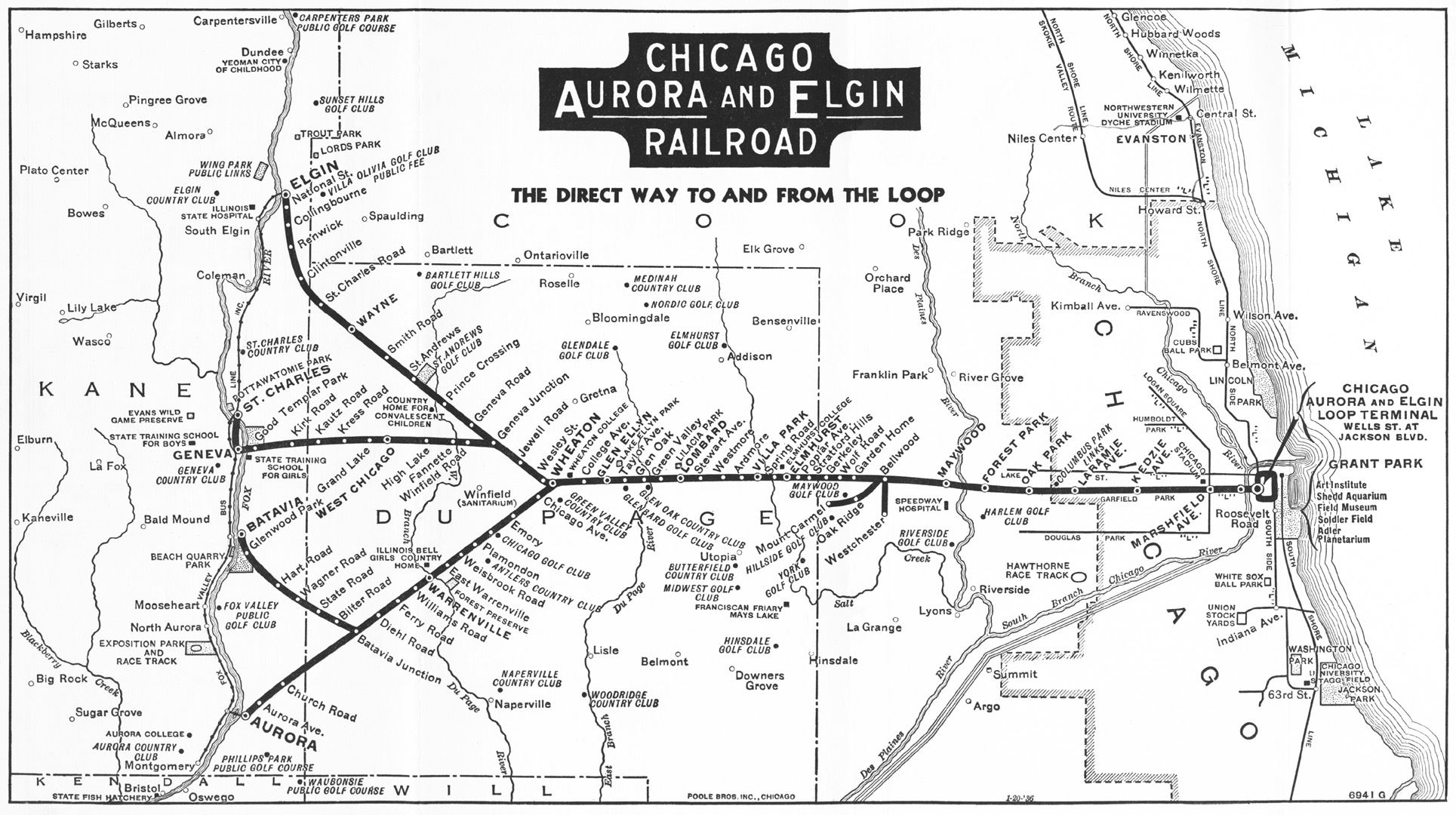 Chicago Aurora and Elgin Railroad 1936 map