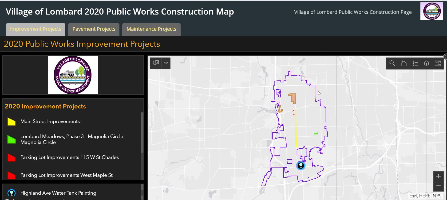 2020 Construction Map Image Opens in new window